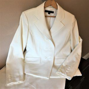 ANNE KLEIN Double-Breasted Soft White Skirt Suit